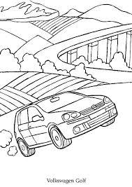coloriage d u0027une voiture volkswagen golf en route pour les