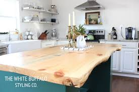 kitchen island with wood top live edge kitchen island thewhitebuffalostylingco