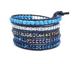 blue leather bracelet images Turquoise blue leather wrap bracelet bohemian style jewellery jpg