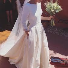 satin wedding dresses a line sleeves open back satin wedding dresses 2018