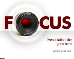 free focus powerpoint template with nice camera lens and focus