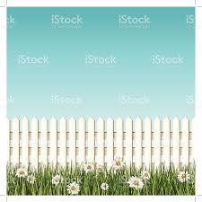 seamless white picket fence and daisys background stock vector art