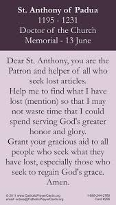 st anthony lost object prayer card catholic prayers sacred