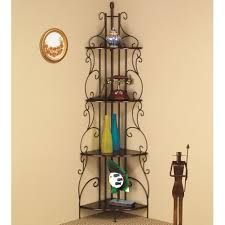 coaster furniture 910038 four tier corner shelf in copper