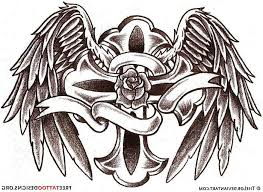 grey ink cross and wings tattoos designs
