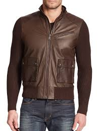 brown leather motorcycle jacket ralph lauren black label knit sleeve leather motorcycle jacket in