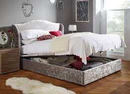 Crushed Velvet Bed Showan Silver Crushed Velvet Ottoman Bed Frame Dreams