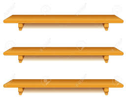 wide oak wood wall shelves with brackets isolated on white royalty