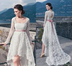 high low wedding dress with sleeves discount vintage lace high low wedding dresses 2016 with
