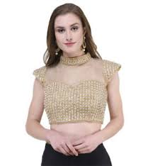 blouse band naira couture band neck pearl golden dupian silk readymade blouse