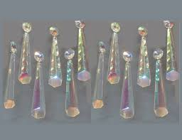 12 aurora borealis ab chandelier drops glass icicle crystals