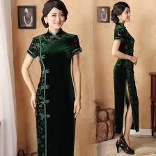 vintage black winter cheongsam long silk velvet chinese dress