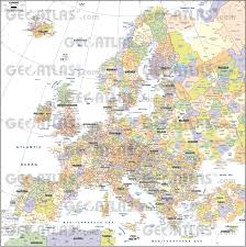 European Continent Map by Geoatlas Continental Maps Europe Postcodes Map City