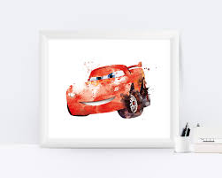 lightning mcqueen print watercolor cars disney cars art print
