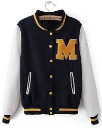 yellow fleece letter m navy white baseball jacket for women jpg