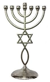 7 candle menorah silver messianic temple menorah 7 branches of david fish
