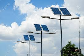 solar panel street lights solar powered street light stock photo picture and royalty free