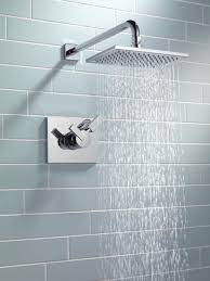 delta faucet vero shower with cool subway tile make for
