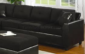 Black Microfiber Sectional Sofa Faux Leather Contemporary Sectional Sofa 500735 Black