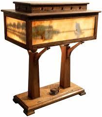 mission style slag glass desk lamp