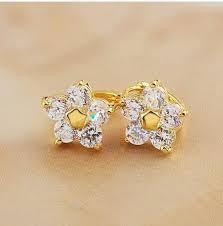 gold stud earrings for women free shipping women stud earrings 18k yellow gold filled flower