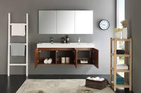 fresca mezzo 60 inch teak wall mounted double sink modern bathroom