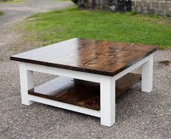 Rustic Square Coffee Table With Storage White And Brown Rustic Square Coffee Table Wood With