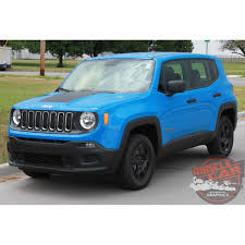 blacked out jeep jeep renegade hood trailhawk style center hood blackout decal