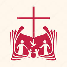 church logo family open bible cross and dove holy spirit