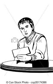 vector of vector sketch of a man at a table reading a note black