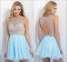 shining pretty girls light blue backless cocktail party dresses