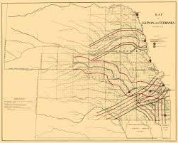 Santa Fe Map Old Railroad Map Kansas Nebraska Railroads 1865