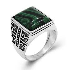 green stone rings images Newest design square green stone ring men and women silver plated jpg