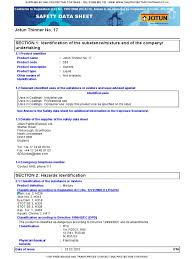 msds jotun thinner 17 toxicity personal protective equipment
