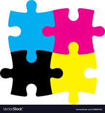 cymk puzzle four jigsaw puzzle pieces in cmyk colors printer vector image
