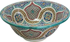 fes meknes ceramic hand painted moroccan bathroom sink basin