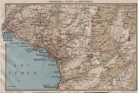 map of montreux vevey montreux environs lac leman lake geneva vintage map
