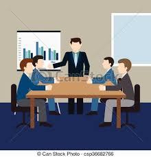 bureau reunion a vector illustration of business team meeting in a modern clip