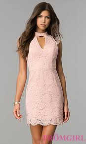 wedding dress guest high neck pink lace party dress promgirl