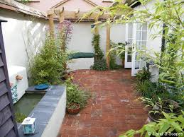 Garden Bench With Trellis by Exteriors Terrific Small Courtyard Designs Inspiration With