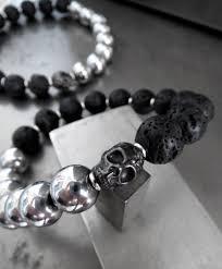 black skull bracelet images Black skull bracelet lava and hematite beads mens womens jpg