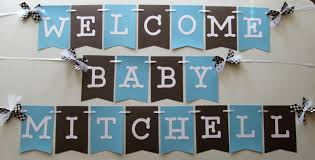 new baby welcome banner in baby blue and brown for hospital