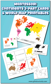 Continent World Map by Montessori Continents 3 Part Cards And World Map Printables Gift