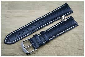 bracelet montre images Bracelet montre hirsch cuir veau italien bleu gaufrage alligator jpg