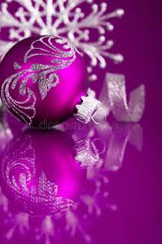 purple and silver ornaments on purple background
