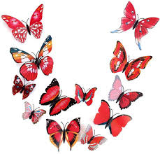 wall decorations admi removable 12 pcs 3d butterfly wall stickers red