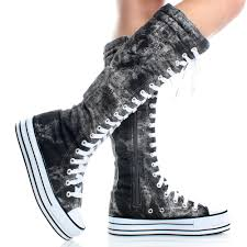 womens knee high boots sale black gray canvas denim platform sneakers womens knee high boots