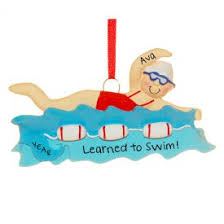 learned to swim bathing suit ornament personalized