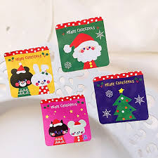 200pcs square cartoon christmas food tag section seal label