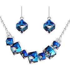 blue crystal necklace set images Plato h gift for mom smiling pendant necklace earrings jpg